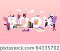 Reading and Education Concept. Tiny Male Female Character with Huge Books. People Read and Study 64335702