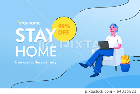 Stay Home Concept. Free Contactless Delivery Service for People at Self Isolation. Smiling Character Sitting on Couch 64335823