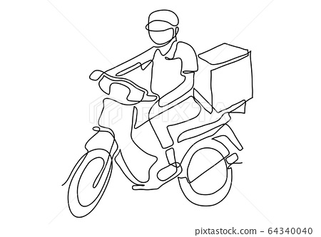 one continuous line of Delivery Man Ride Motorcycle illustration 64340040