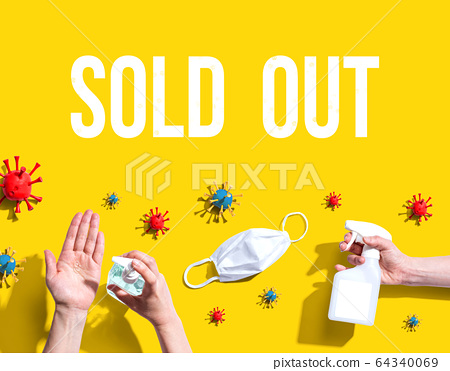 Sold out theme with viral and hygiene objects 64340069