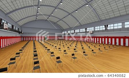 帶有幾把椅子的體育館入學典禮學校冠狀病毒插圖43 64340082