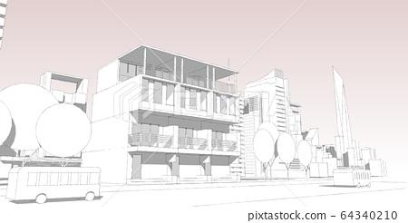 Panorama cityscape Sketch. Architecture sketch - 64340210