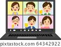 온라인 회식 노트북 PC 화면 일러스트 64342922