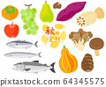 Autumn ingredients vegetables, fruits and fish set 64345575