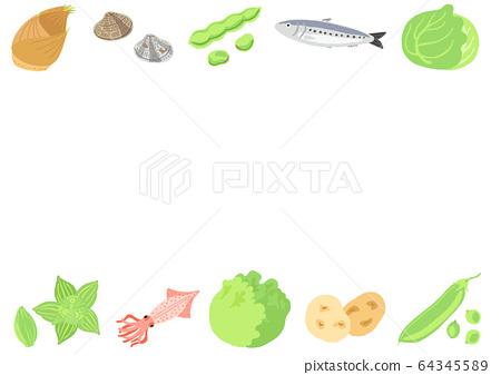 春季配料蔬菜和魚框 64345589