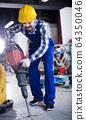 Worker to work with demolition hammer 64350046