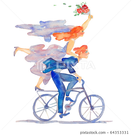 bride and groom riding bicycle 64353331