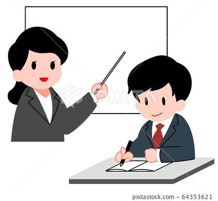 研討會,年輕人和女老師一起學習 64353621