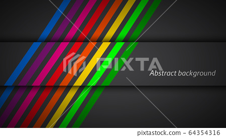 Modern rainbow colored lines on black background. Vector illustration 64354316