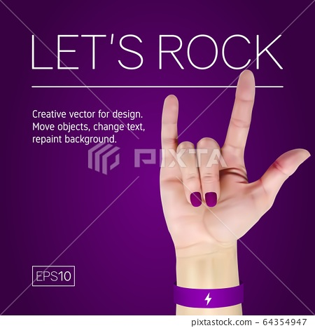 Female hand with manicure on a purple background shows rock. 64354947