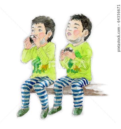 주먹밥을 먹을 쌍둥이 유아의 수채화 스케치 64356671