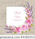 Beautiful flowers for invitation card. Vintage postcard background. Vector illustration 64360353