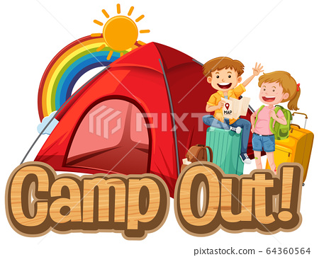 Font design for word camp out with people and big 64360564
