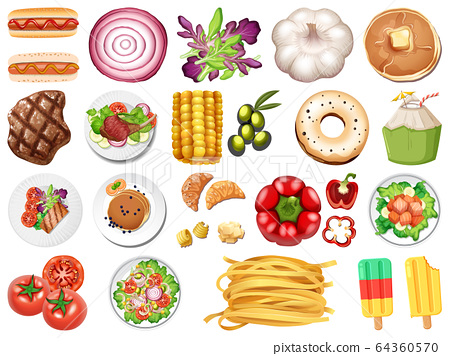 Large set of food and desserts on white background 64360570