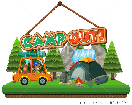 Font design for camp out with tent in the park 64360575
