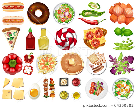 Large set of food and desserts on white background 64360583
