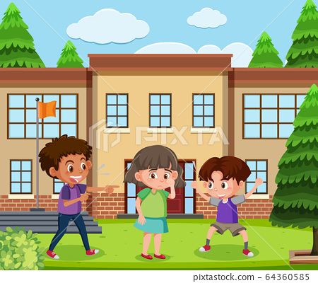 Scene with kid bullying their friend at school 64360585