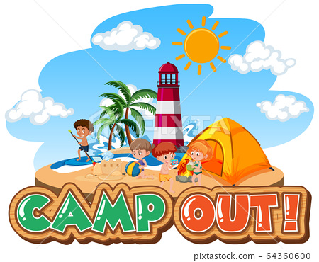 Font design for camp out with tent in the park 64360600