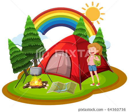 Scene with woman camping out in the park 64360736