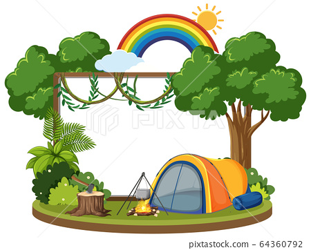 Board template with camping theme in the forest 64360792