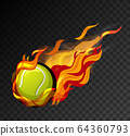 Tennis ball with flame on black background 64360793
