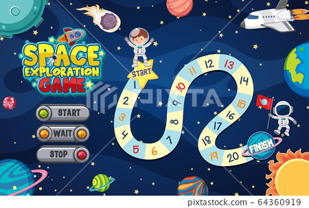 Game template with many planets in the space 64360919