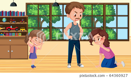 Scene with parents bullying their family at home 64360927