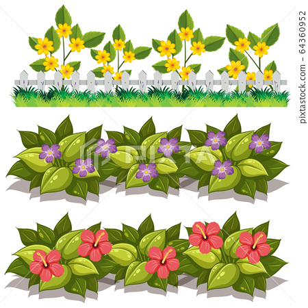 Large set of nature with flowers and leaves on 64360952