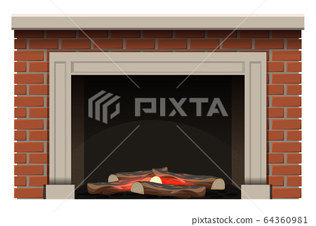 Fireplace with firewoods and little flame inside 64360981