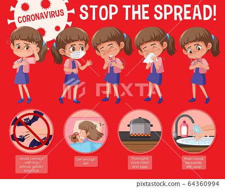 Coronavirus poster design with word stop the 64360994