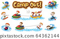 Font design for word camp out with kids doing 64362144