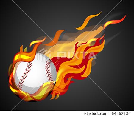 Shooting baseball with flame on black background 64362180