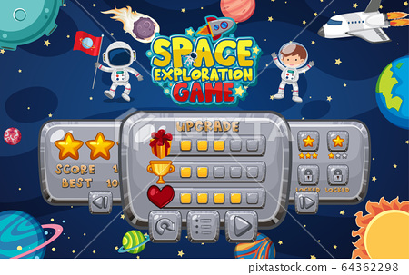 Game template with many planets in the space 64362298