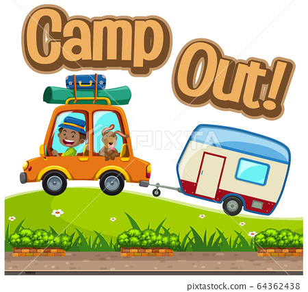 Font design for word camp out with man driving car 64362438