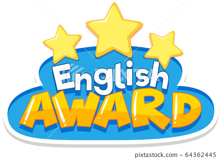 Font design for English award with yellow stars 64362445