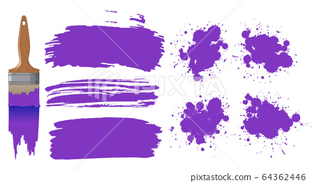 Set of watercolor painting in purple with 64362446
