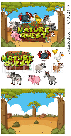Background design with sign nature quest in the 64362447