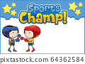 Background template design with boys boxing 64362584