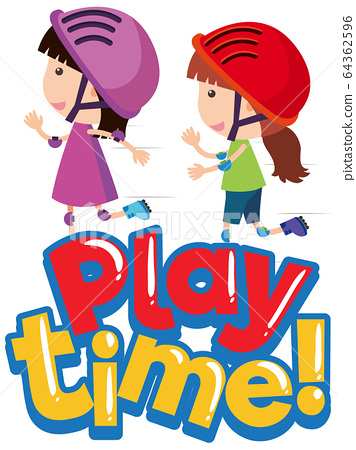 Font design for word play time with happy kids 64362596