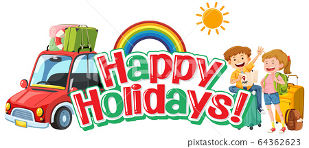 Phrase design for happy holidays with tourists and 64362623
