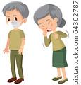 Elderly people sick character 64362787