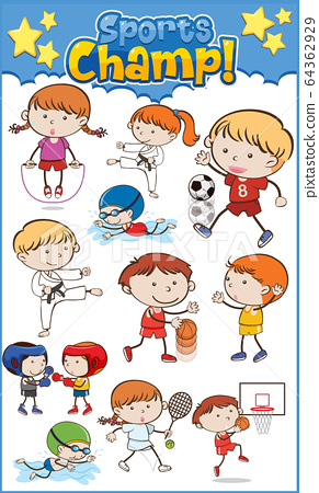 Large set of kids playing different sports 64362929