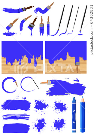 Different design of watercolor painting in blue on 64362931