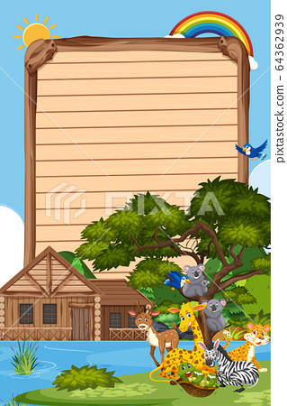 Border template design with many wild animals in 64362939