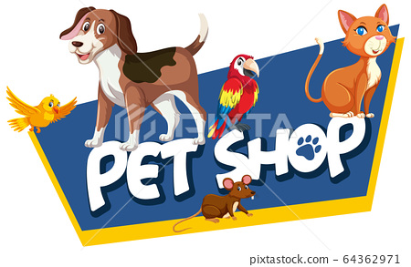 Font design template for word pet shop with many 64362971
