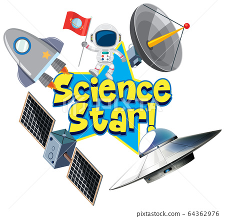 Poster design with word science star with 64362976
