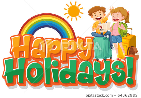 Phrase design for happy holidays with happy 64362985