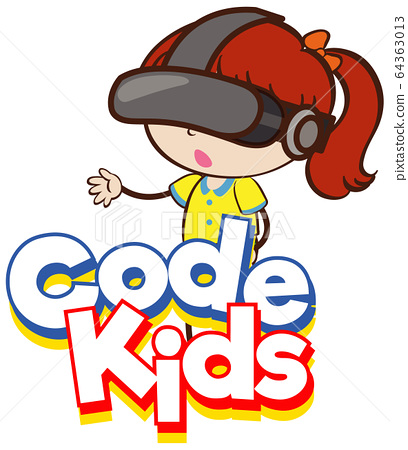 Font design for word code kids with girl wearing 64363013