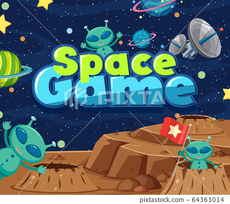 Poster design with word space game and aliens in 64363014