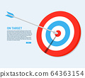 The arrow pierces the center of the target 64363154
